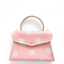 'Chantilly Petit' Pois Nappa Leather dots handbag Light Pink & Gold