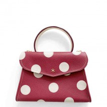 'Chantilly Petit' Pois Sac à main Cuir Nappa Bordeaux & Or