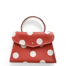'Chantilly Petit' Pois Nappa Leather dots handbag Red & Gold