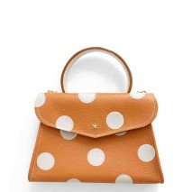 'Chantilly Petit' Pois Sac à main Cuir Nappa Orange & Or