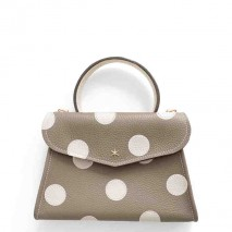 'Chantilly Petit' Pois Sac à main Cuir Nappa Volcan & Or