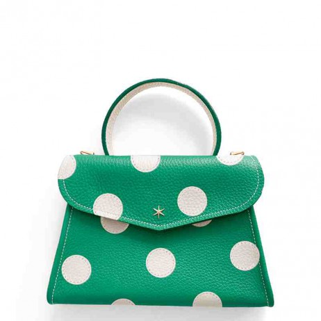 'Chantilly Petit' Pois Sac à main Cuir Nappa Lagon & Or