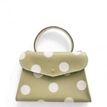 'Chantilly Petit' Pois Nappa Leather dots handbag Asperge & Gold