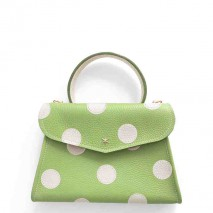 'Chantilly Petit' Pois Nappa Leather dots handbag Apple green & Gold
