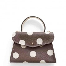 'Chantilly Petit' Pois Nappa Leather dots handbag Chocolate and gold