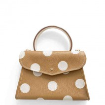 'Chantilly Petit' Pois Nappa Leather dots handbag Cognac & Gold