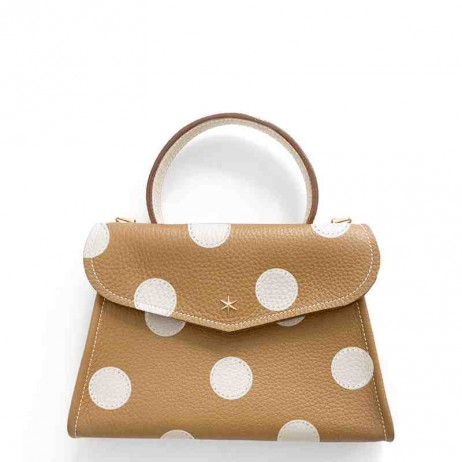 'Chantilly Petit' Pois Sac à main Cuir Nappa Cognac & Or