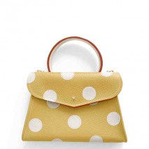 'Chantilly Petit' Pois Nappa Leather dots handbag Moutarde & Gold