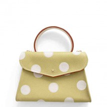 'Chantilly Petit' Pois Nappa Leather dots handbag Anis & Gold