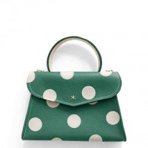 'Chantilly Petit' Pois Nappa Leather dots handbag Vert Pin & Gold