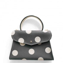'Chantilly Petit' Pois Nappa Leather dots handbag Ardoise & Gold