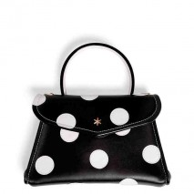 'Chantilly Soie' Pois Nappa Leather dots handbag Ebène & Gold