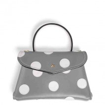 'Chantilly Soie' Pois Nappa Leather dots handbag Light Grey & Gold