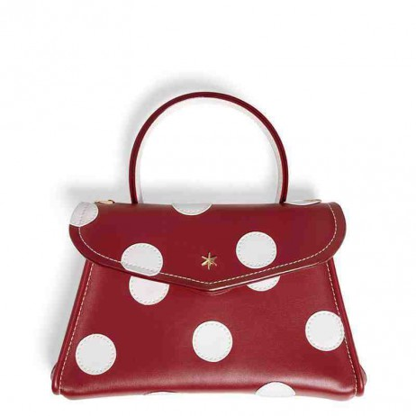 'Chantilly Soie' Pois Sac à main Cuir Nappa Bordeaux & Or