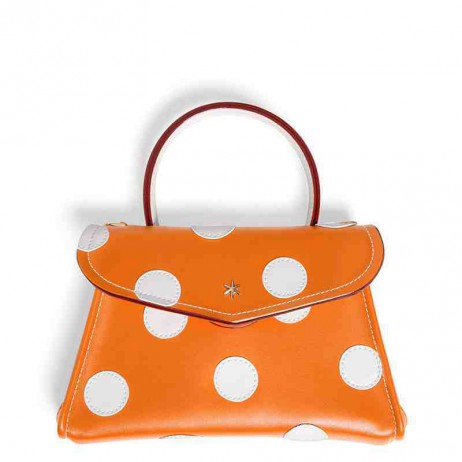 'Chantilly Soie' Pois Sac à main Cuir Nappa Orange & Or