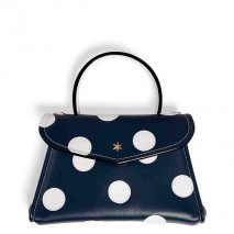 'Chantilly Soie' Pois Sac à main Cuir Nappa Bleu Nuit & Or