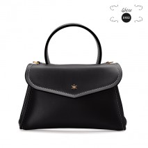 'Chantilly Soie' Sac à main Cuir Noir & Or