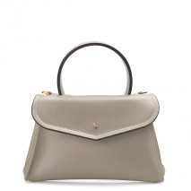 'Chantilly Silk' Leather handbag Light grey & Gold