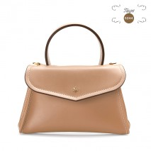 'Chantilly Soie' Sac à main Cuir Taupe & Or