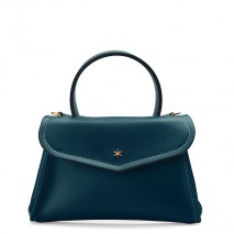 'Chantilly Soie' Sac à main Cuir Bleu Nuit & Or