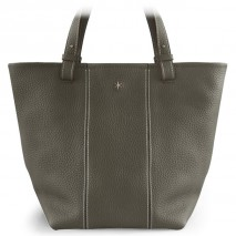 'Châtelet Grand' Sac Cabas Cuir Nappa Gris Volcan & Or Grand