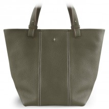 'Châtelet Grand' Sac Cabas Cuir Nappa Gris Elephant & Argent Grand