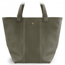 'Châtelet Grand' Sac Cabas Cuir Nappa Gris Elephant & Or Grand