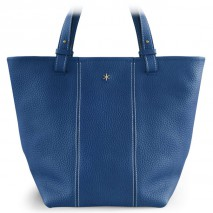'Châtelet Grand' Sac Cabas Cuir Nappa Bleu Satin & Or Grand