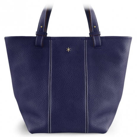 'Châtelet Grand' Sac Cabas Cuir Nappa Bleu Nuit & Or Grand