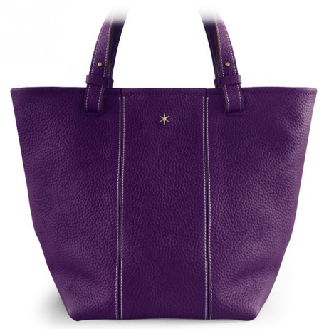 'Châtelet Grand' Sac Cabas Cuir Nappa Violet Sombre & Or Grand