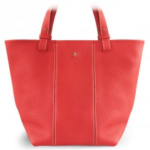 'Châtelet Grand' Sac Cabas Cuir Nappa Rouge Pâle & Or Grand
