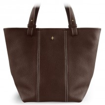 'Châtelet Grand' Sac Cabas Cuir Nappa Chocolat & Or Grand