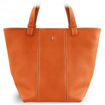 'Châtelet Grand' Sac Cabas Cuir Nappa Orange & Argent Grand