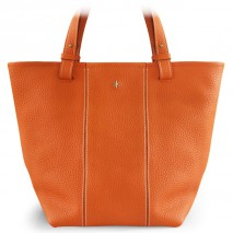 'Châtelet Grand' Sac Cabas Cuir Nappa Orange & Or Grand