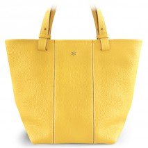 'Châtelet Grand' Sac Cabas Cuir Nappa Jaune Pâle & Or Grand