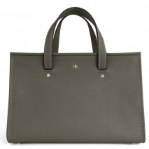 'Saint Louis' Nappa Leather handbag Dark Grey & Silver Grand