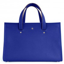 'Saint Louis' Sac à main Cuir Nappa Bleu Profond & Or Grand