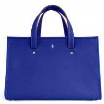 'Saint Louis' Nappa Leather handbag Deep Blue & Silver Grand