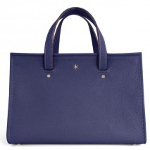 'Saint Louis' Sac à main Cuir Nappa Bleu Nuit & Or Grand