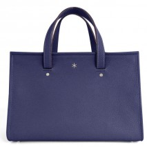 'Saint Louis' Nappa Leather handbag Dark Blue & Silver Grand