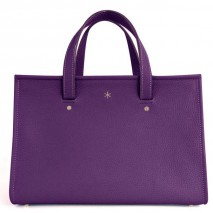 'Saint Louis' Sac à main Cuir Nappa Violet Sombre & Or Grand