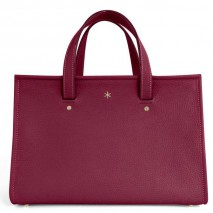 'Saint Louis' Sac à main Cuir Nappa Rouge Foncé & Or Grand