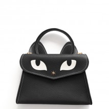 'Chantilly Le chat Petit' Sac à main Cuir Nappa Ebene