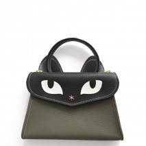 'Chantilly Le Chat Petit' Nappa Leather handbag Elephant grey