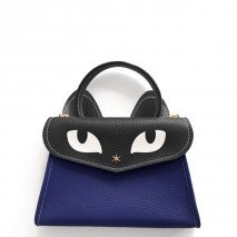 'Chantilly Le Chat Petit' Nappa Leather handbag Navy Blue