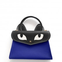 'Chantilly Le Chat Petit' Nappa Leather handbag Deep Blue