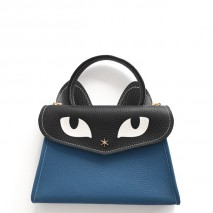 'Chantilly Le chat Petit' Sac à main Cuir Nappa Indigo