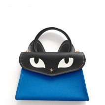 'Chantilly Le chat Petit' Sac à main Cuir Nappa Cyan