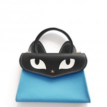 'Chantilly Le chat Petit' Sac à main Cuir Nappa Azur
