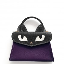 'Chantilly Le Chat Petit' Nappa Leather handbag Dark Purple